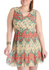 Find Your Path Dress in Plus Size - Tan, Orange, Green, Floral, Pleats, Casual, A-line, Sleeveless, V Neck, Summer
