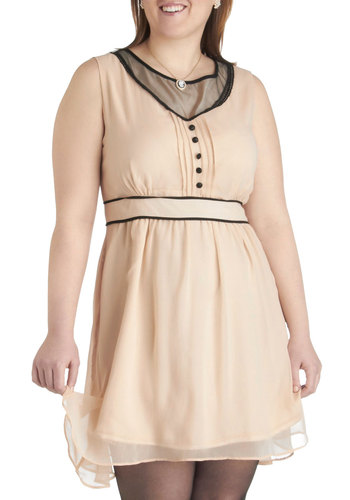 Happily Ever Dapper Dress in Plus Size - Cream, Black, Buttons, Party, Empire, Sleeveless, Trim, Scoop, Solid, Daytime Party, Vintage Inspired, Sheer