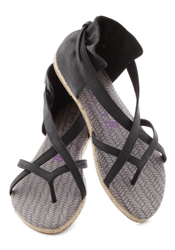 A Full Plait Sandal - Black, Solid, Strappy, Flat, Casual, Daytime Party, Faux Leather, Summer