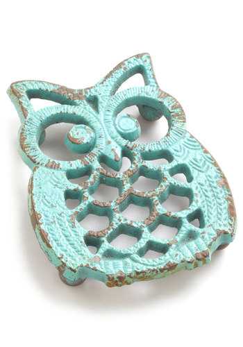 Hoot Stuff Trivet - Blue, Owls, Mid-Century, Halloween, Boho, Pastel, Top Rated, Hostess, Critters, Woodland Creature, Under $20, Rustic