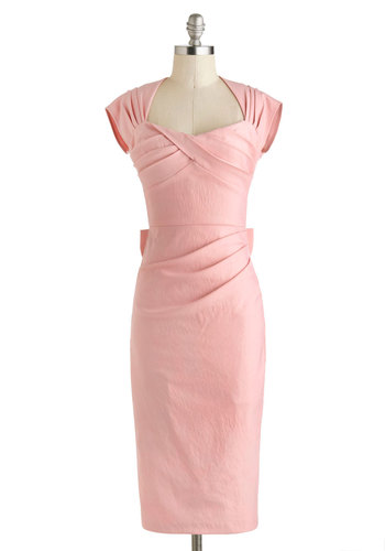 Tea Time After Time Dress in Pink by Stop Staring! - Long, Pink, Solid, Bows, Cutout, Pastel, Sheath / Shift, Cap Sleeves, Spring, Cocktail, Pinup, Vintage Inspired