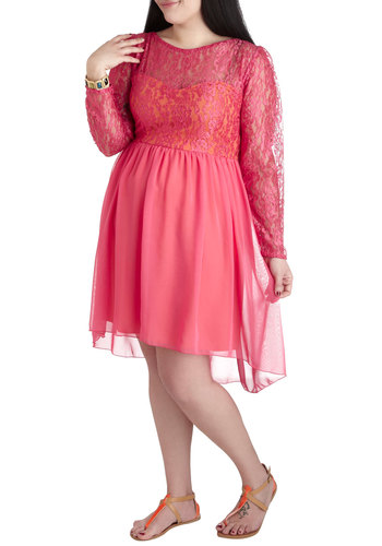 Tropical Sorbet Dress in Plus Size - Pink, Orange, Lace, Party, A-line, Long Sleeve, Boat, Solid, Sheer