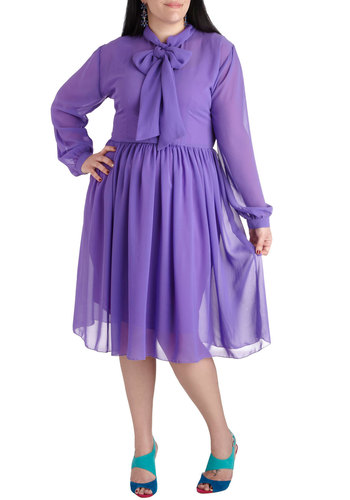 Makeup Artiste Dress in Plus Size - Purple, Solid, Buttons, Tie Neck, A-line, Long Sleeve, Work, Long