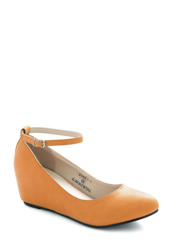 Take a Stride With Me Wedge in Mustard - Solid, Work, Mid, Wedge, Variation, Yellow, Basic