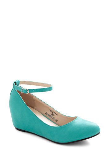 Take a Stride With Me Wedge in Teal - Blue, Solid, Work, Mid, Wedge, Variation, Basic, Top Rated