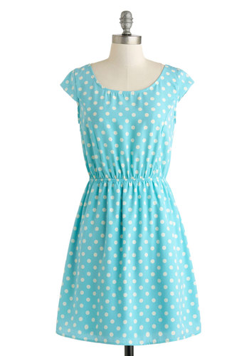 True Blue Charmer Dress - Mid-length, Blue, White, Polka Dots, Cutout, Casual, A-line, Cap Sleeves, Spring, Buttons, Scoop, Summer