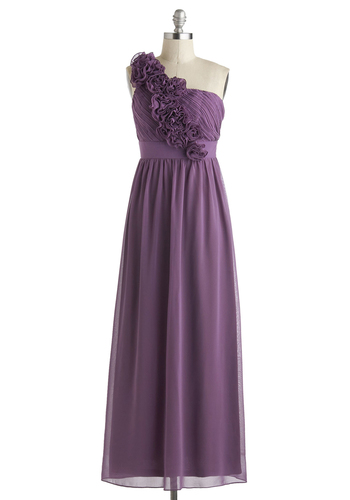 Let Love Flourish Dress - Special Occasion, Prom, One Shoulder, Purple, Solid, Flower, Wedding, Luxe, Empire, Summer, Long, Bridesmaid, Maxi, Chiffon, Exclusives, Gifts Sale, Top Rated, Party, Homecoming