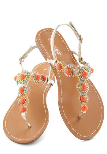 Coral That Jazz Sandal - Orange, Gold, Rhinestones, Luxe, Statement, Summer, Flat, Leather, Silver, Daytime Party, Beach/Resort