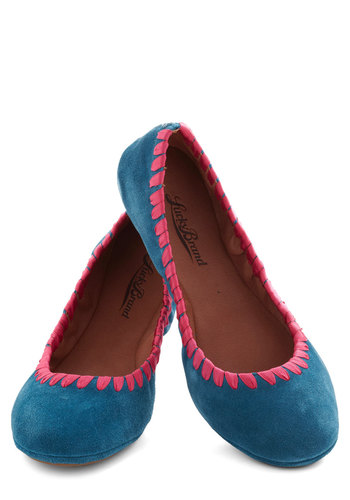 Bound to Blossom Flat - Blue, Pink, Flat, Leather, Suede, Trim, Travel
