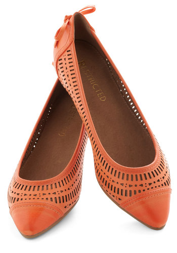 Oh My Dahlia Flat by Restricted - Bows, Flat, Leather, Orange, Cutout, Coral