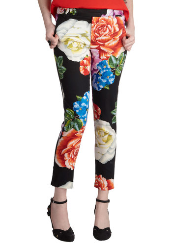 Power Flower Pants - Cotton, Multi, Red, Blue, Pink, Black, Floral, Pockets, Daytime Party, Work, Cropped