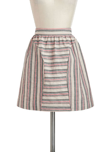 Stripe My Fancy Skirt by Dear Creatures - Brown, Pink, Black, Stripes, A-line, Cotton, Short, Pockets, Casual, Summer
