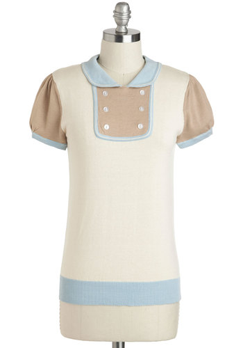 Weekend Errands Top by Dear Creatures - Cream, Blue, Tan / Cream, Buttons, Peter Pan Collar, Short Sleeves, Cotton, Mid-length, Work, Casual, Vintage Inspired, Collared