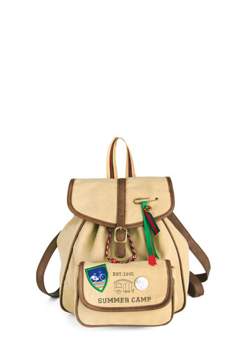 Troop Beverly Thrills Backpack by Nice Things - International Designer, Tan, Multi, Trim, Casual, Scholastic/Collegiate, Travel, Work