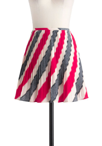 Read, White, and Blue Skirt by Jack by BB Dakota - Nautical, Short, Multi, Red, Blue, Black, White, Stripes, Pleats, A-line