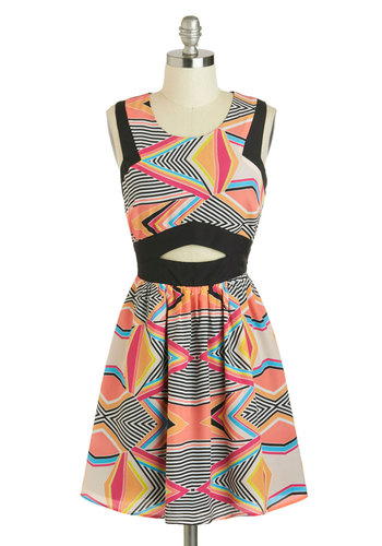 Op Artists Attract Dress - Multi, Print, Casual, A-line, Mid-length, Black, Cutout, Tank top (2 thick straps), Scoop, 80s, Chevron, Statement