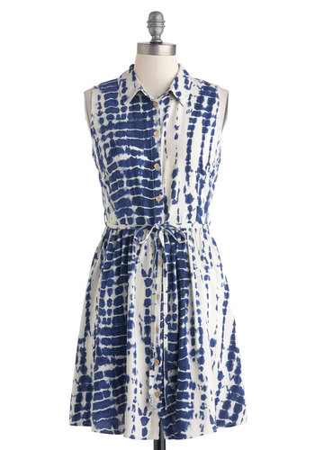Beach Home Show Dress - Mid-length, Blue, White, Print, Buttons, Belted, Casual, Sleeveless, Collared, Shirt Dress, Tie Dye