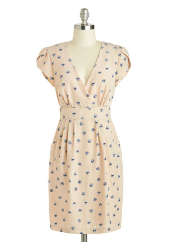 Pinball Blizzard Dress by Darling - Mid-length, Cream, Blue, Novelty Print, Party, Sheath / Shift, Cap Sleeves, V Neck, Pockets, Daytime Party, Work