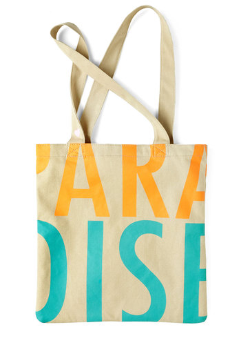 Welcome to Paradise Tote - Cotton, Orange, Green, Casual, Beach/Resort, Eco-Friendly, Summer, Travel