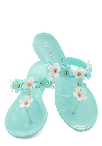 As Daisy Goes By Sandal - Blue, White, Flower, Beach/Resort, Fairytale, Summer, Flat, Casual, Travel