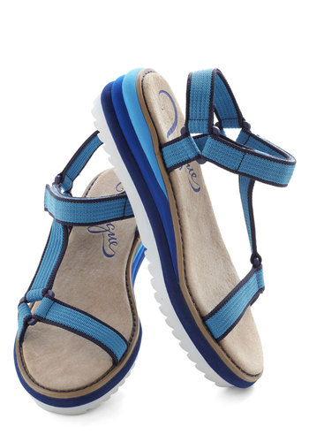 Pick and Cruise Sandal - Blue, Solid, Wedge, Low, Leather, Casual, Beach/Resort, Summer, Travel