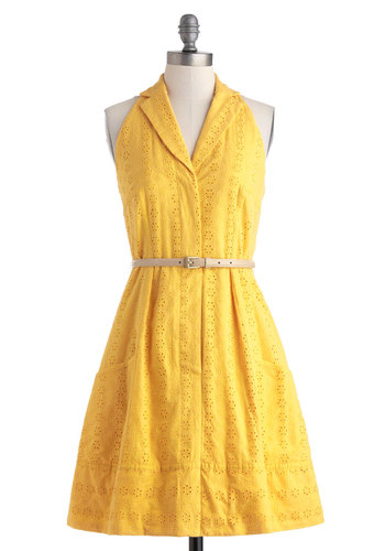Eyelets of the Caribbean Dress - Mid-length, Cotton, Yellow, Solid, Eyelet, Pockets, Belted, A-line, Halter, Collared, Daytime Party, Vintage Inspired, Shirt Dress, Spring, Summer