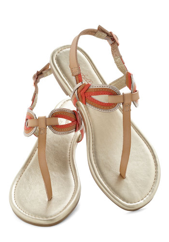 Breeze Sandal by Seychelles - Tan, Silver, Solid, Flat, Coral, Casual, Daytime Party, Beach/Resort, Summer, Faux Leather