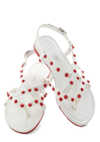 Seeing Hotspots Sandal - White, Red, Studs, Urban, Summer, Flat, Strappy, Faux Leather