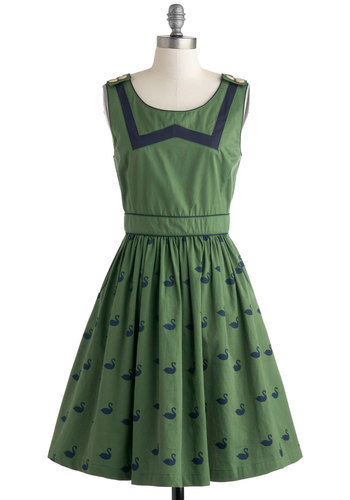 Floating on Flair Dress by Knitted Dove - Green, Blue, Casual, Sleeveless, Spring, Print with Animals, Epaulets, Pockets, Fit & Flare, Scoop, Vintage Inspired, 50s, Cotton, Mid-length