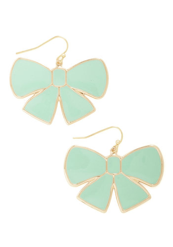 Bow and Arrow Earrings - Mint, Gold, Solid, Bows, Pastel, Bridesmaid