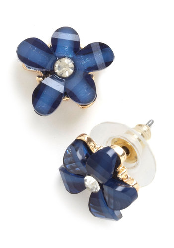 Blue Belle Blooms Earrings - Blue, Solid, Flower, Rhinestones, 90s