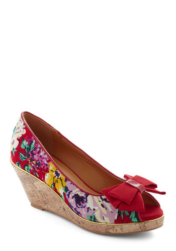 Zoom and Bloom Wedge - Red, Multi, Floral, Bows, Platform, Wedge, Peep Toe, Mid, Party, Daytime Party