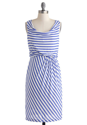 Swathe the Decks Dress - Nautical, Mid-length, Blue, White, Stripes, Ruching, Casual, Cowl, A-line
