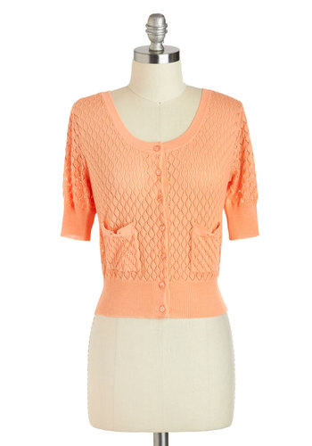 Sweet the Day Cardigan in Mango - Sheer, Short, Orange, Solid, Buttons, Daytime Party, Short Sleeves, Pockets, Work, Vintage Inspired, 50s, Cropped, Scoop, Pinup