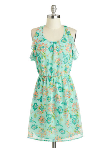 Sea Breezy Dress - Short, Mint, Multi, Print, Ruffles, A-line, Racerback, Scoop, Floral, Casual, Daytime Party, Summer