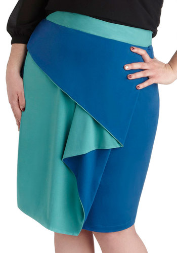 Cascading Waters Skirt in Plus Size - Blue, Solid, Daytime Party, Ruffles, Pencil