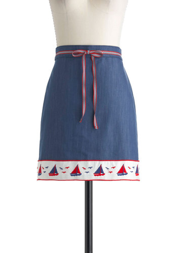 Full Sail Ahead Skirt - Blue, Red, White, Beach/Resort, Nautical, Solid, Bows, Embroidery, Casual, Cotton, Denim, Short, Summer