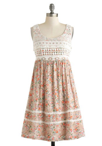 Prairie Important Date Dress - Cotton, Mid-length, Tan, Multi, Floral, Crochet, Casual, Empire, Tank top (2 thick straps), Scoop, Boho, Vintage Inspired, 60s