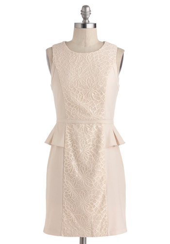 Ivory Got a Feeling Dress - Solid, Cutout, Lace, Daytime Party, Peplum, Sleeveless, Short, Cream, Work, Vintage Inspired