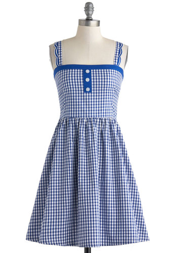 Blueberry Picking Dress - White, Checkered / Gingham, Buttons, Scallops, Casual, A-line, Cotton, Mid-length, Blue, Rockabilly, Vintage Inspired, Sleeveless, Spring, Summer
