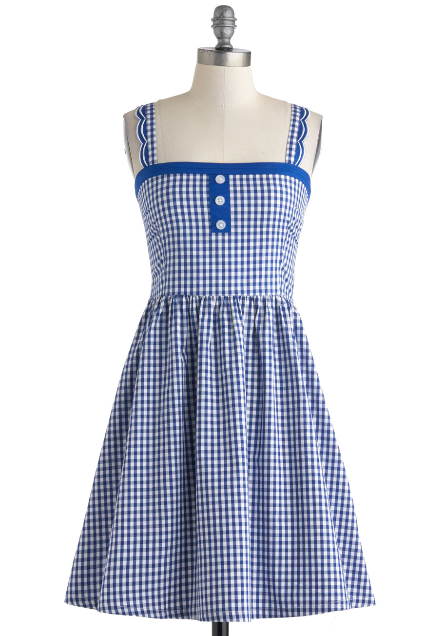 White and blue checkered dress - Best dress image