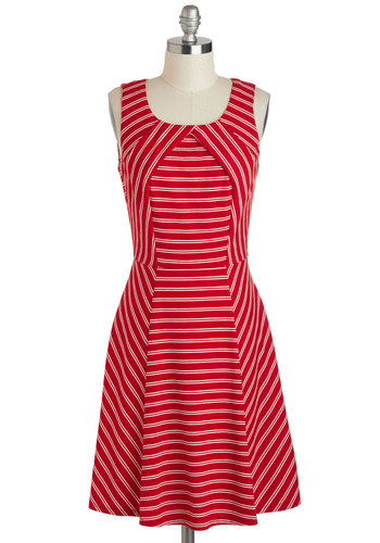 Ray of Lighthouse Dress - Red, White, Stripes, Casual, A-line, Tank top (2 thick straps), Scoop, Mid-length, Nautical