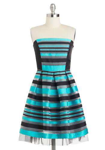 Start the Party Dress by Eva Franco - Short, Blue, Black, Grey, Stripes, Pleats, Prom, Fit & Flare, Strapless, Wedding, Party, Bridesmaid