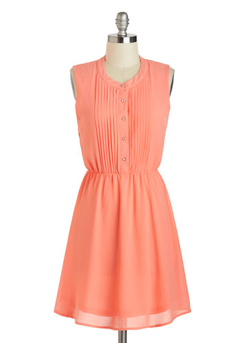 Cute As They Kumquat Dress - Short, Coral, Solid, Buttons, Pleats, A-line, Sleeveless, Crew, Casual, Spring, Summer