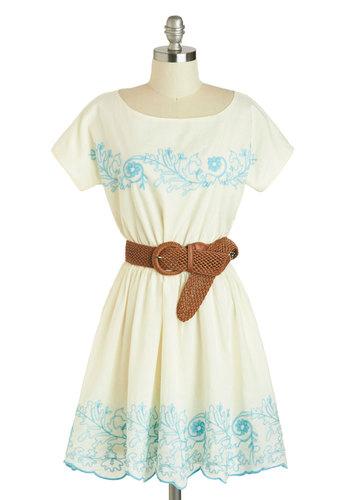 Flour Child Dress - Cotton, Mid-length, White, Blue, Embroidery, Belted, Casual, Boho, A-line, Short Sleeves, Scoop