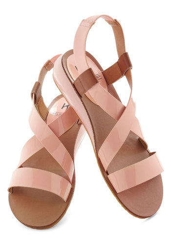 Spa Spectacular Sandal - Orange, Tan / Cream, Solid, Wedge, Slingback, Pastel, Casual, Beach/Resort, Summer