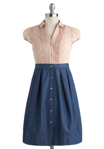 Expert in Effervescence Dress - Mid-length, Blue, Pink, Buttons, Lace, Pleats, Pockets, Casual, Empire, Cap Sleeves, Collared, Solid, A-line, Shirt Dress, Summer