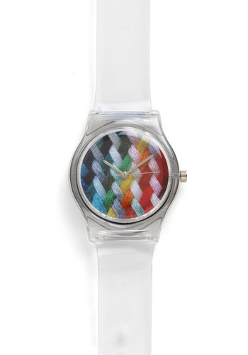 Weave Got Time Watch - Woven, White, Multi, Print