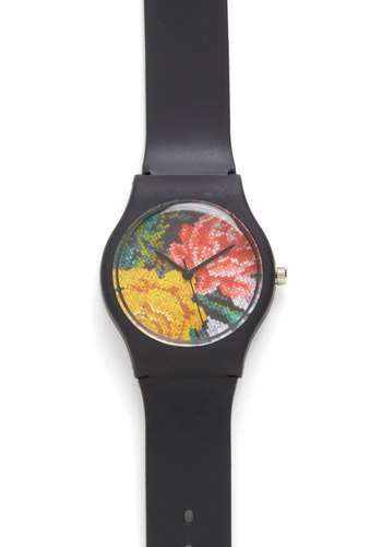 Cross-Stitch My Fingers Watch - Floral, Black, Multi