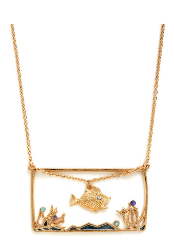 Many Tanks Necklace - Gold, Rhinestones, Quirky, Print with Animals, Statement, Gold